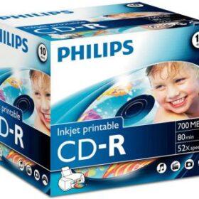CD-R Philips 700 MB 10kom kutija za dragulje, kartonska kutija, CR7D5JJ10 / 00 za ispis