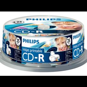 CD-R Philips 700 MB 25kom, spindel inkjet ispis CR7D5JB25 / 00