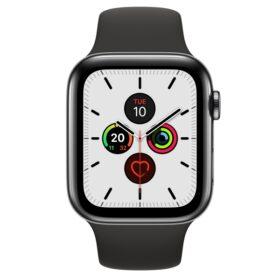 Apple Watch 5 44mm crna nehrđajuća futrola sa crnom sportskom trakom MWWK2FD / A