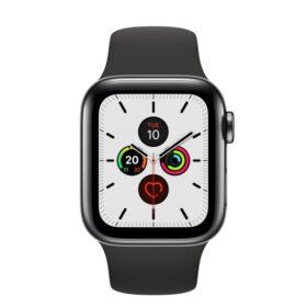 Apple Watch 5 40 mm crno čelično kućište sa crnom sportskom trakom LTE MWX82FD / A