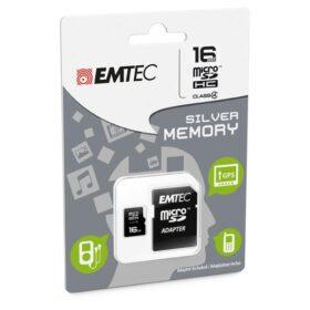 MicroSDHC 16 GB EMTEC + adapter CL4 Silver Memory Blister