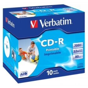 CD-R 80 Verbatim 52x DLP Inkjet bijela Full Surface 10 futrola za nakit 43325
