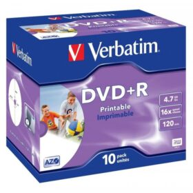 DVD + R 4,7 GB Verbatim 16x Inkjet bijela Full Surface 10 futrola za nakit 43508
