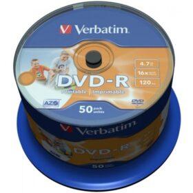 DVD-R 4,7 GB Verbatim 16x Inkjet bijeli Full Surface 50er Cakebox 43533
