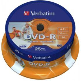 DVD-R 4,7 GB Verbatim 16x Inkjet bijeli Full Surface 25er Cakebox 43538