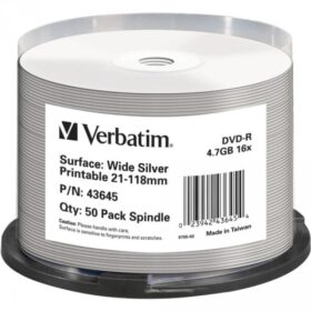 DVD-R 4,7 GB Verbatim 16x Inkjet srebrna Full Surface 50 torta za torte 43645