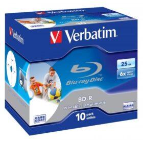 BD-R 25GB Verbatim 6x Inkjet bijela Full Surface 10 futrola za nakit 43713